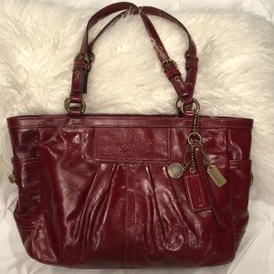 Coach dark red patent leather tote bag